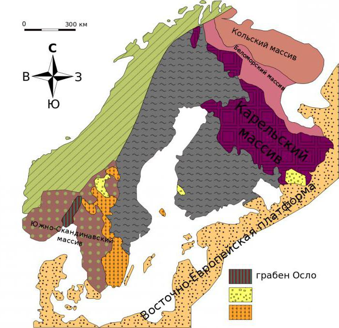 Baltic Shield: relief shape, tectonic structure and minerals