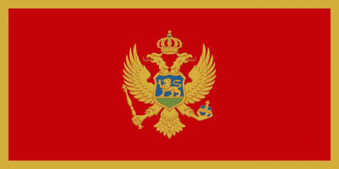 Flag and coat of arms of Montenegro. Official symbols of the country